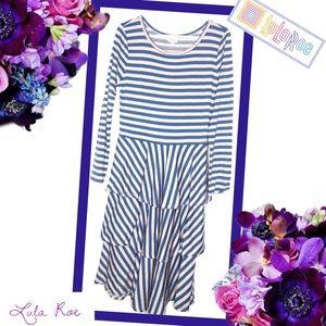 LULAROE Striped Georgia Ruffle Dress
